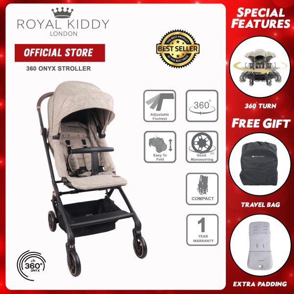 [EXCLUSIVE] Royal Kiddy 360 Onyx Baby Stroller 0kg - 20kg Singapore