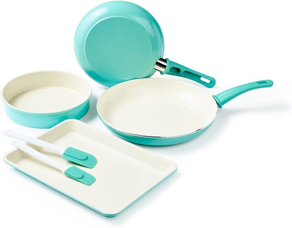 GreenLife Cookware Frying Frying Pan and Bakeware Baking Tray Round Dish Cake Making Pan Sheet Kitchen Spatula Set, Turquoise Teal Tiffany Blue Singapore