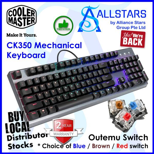 (ALLSTARS : We are Back / Gaming Promo) CM / CoolerMaster / Cooler Master CK350 RGB Mechanical Keyboard (OUTEMU Blue Switch : CK-350-KKOL1-US / Brown Switch : CK-350-KKOM1-US / Red Switch CK-350-KKQR1-US) (Warranty 2years with Local Distributor BanLeong) Singapore