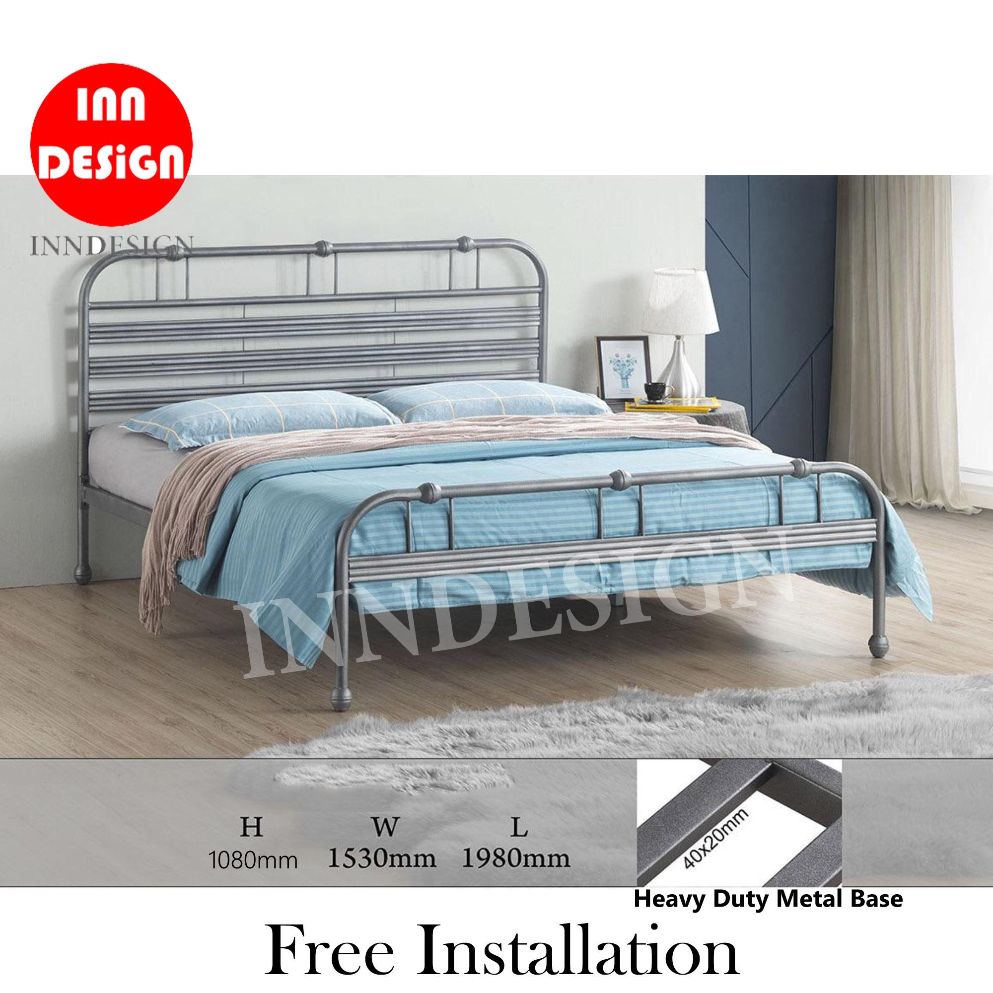 [NEW ARRIVAL] [6 Months Warranty] Qano Queen Heavy Duty Metal Bedframe / Bed / Bed frame (Free Delivery and Installation)