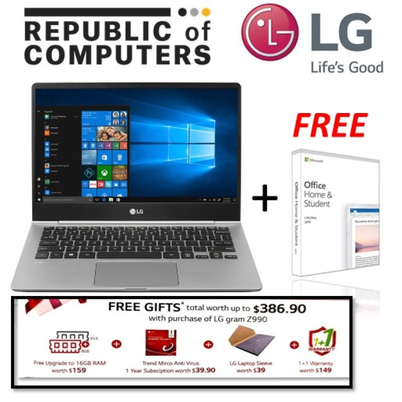 LG Gram 14Z990-G.AA7CA3 / i7 Processor/ 8GB RAM & 512GB SSD / Win10 Home / 14.0 inch / 72Wh Battery (Up to 23.5 Hours) / Weighs only 995g