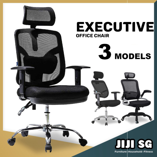 (Delivered in 3Days)(JIJI SG) Office chair Executive Chair Series Movable ArmRest - (Home Office Chair) Office chairs /Study chair/Gaming chair/Ergonomic/ Free 12 Months Warranty (SG) Singapore