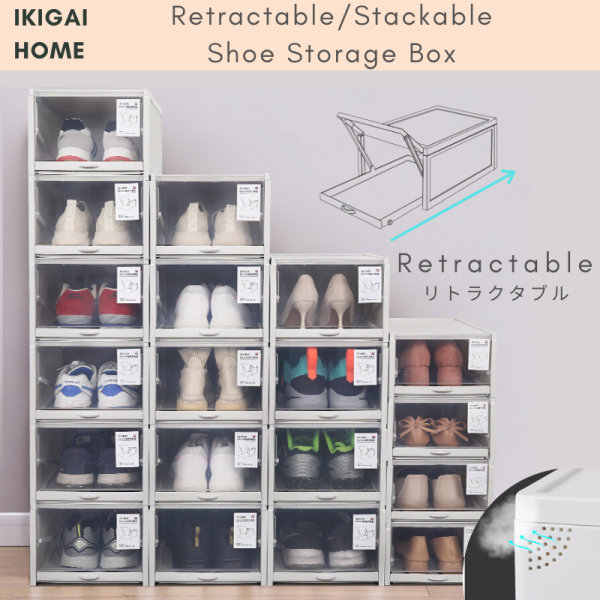 Set of 3 Retractable/Stackable Shoe Storage Box