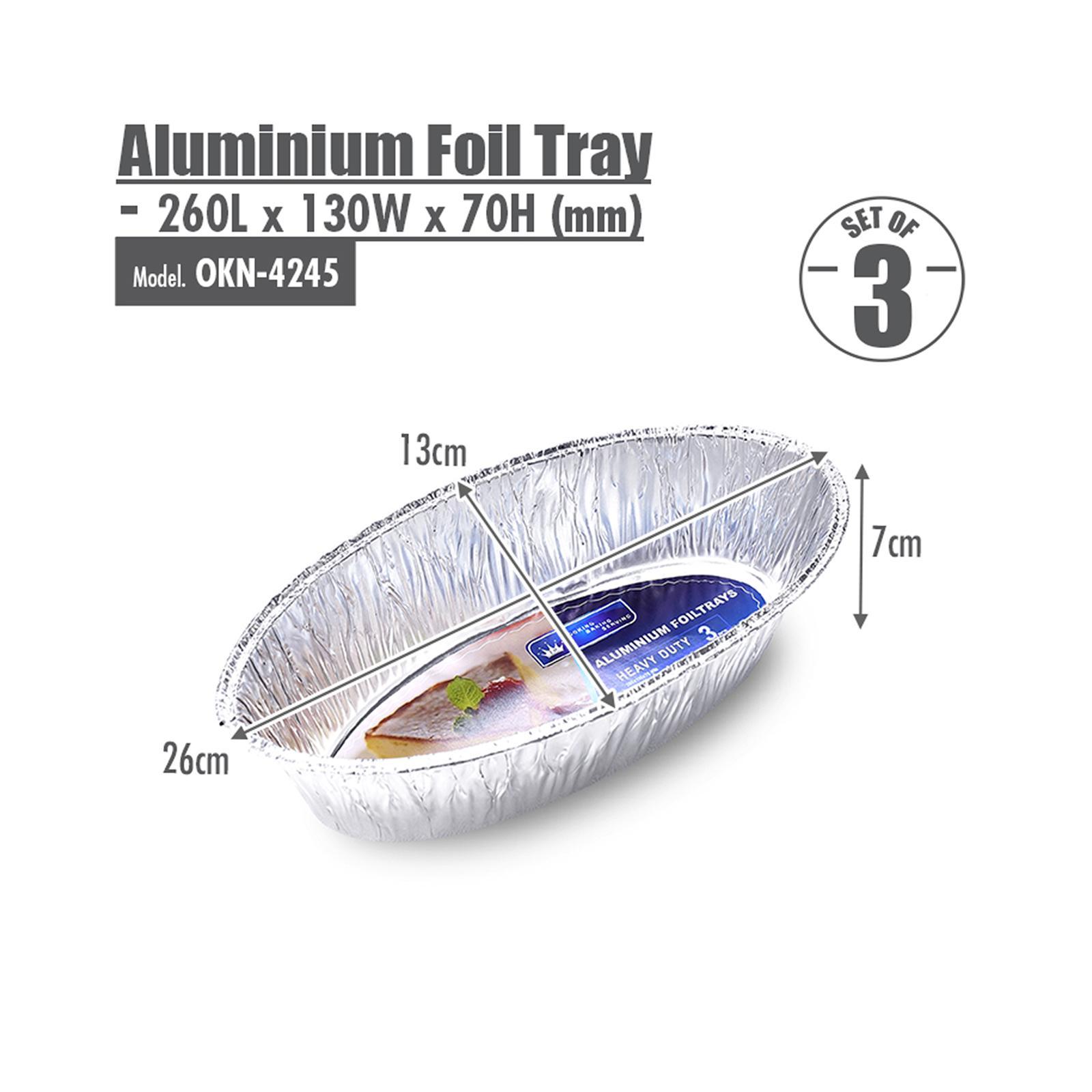HOUZE Oval Aluminium Foil Roasting Pan - Set of 3