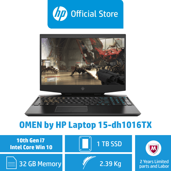 OMEN by HP Laptop 15-dh1016TX / Intel® Core™ i7-10750H / 32GB RAM / 1TB SSD / Win 10 / NVIDIA® GeForce® RTX 2080 SUPER™ with Max-Q design / Gaming / 2 Years Warranty