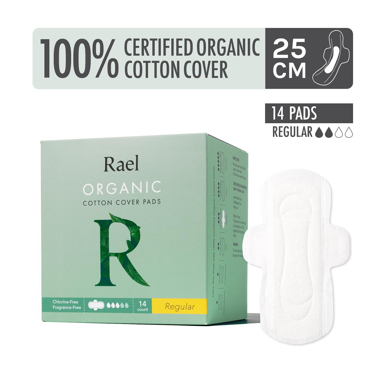 Rael Sanitary Pads with Certified Organic Cotton Cover - Regular - By Corlison