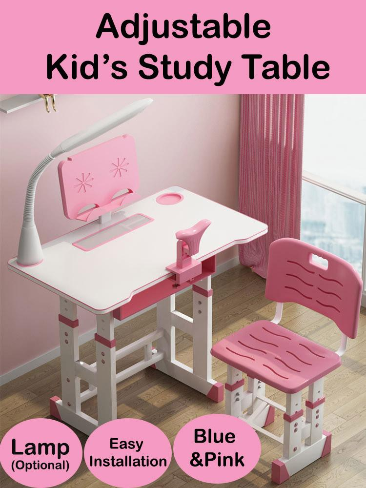 kid study table/study desk/adjustable study table set/desk/kid table/learning table 3-18 yrs old/ protect eyes and vertebrae