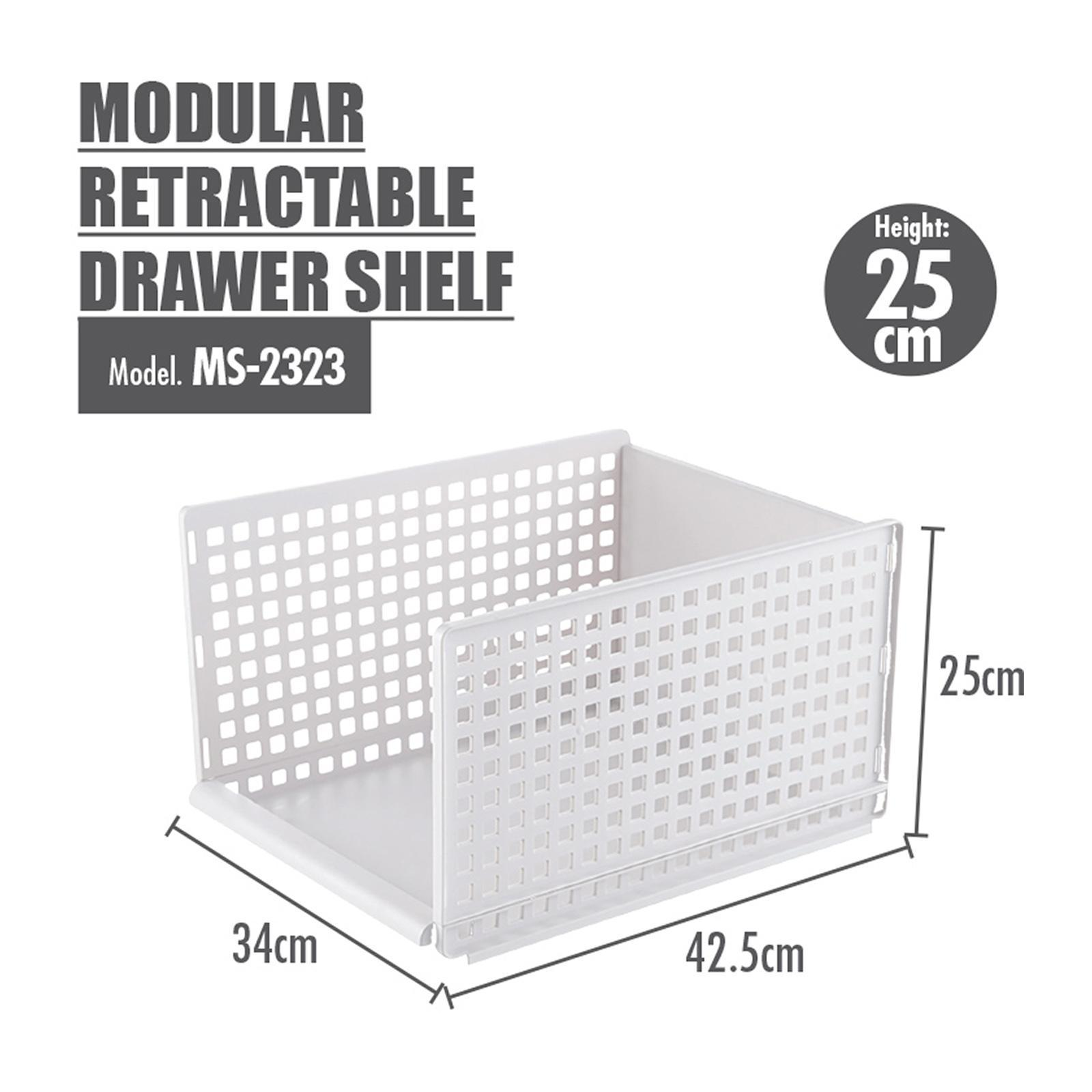 HOUZE Modular Retractable Drawer Shelf (Height: 25 CM)