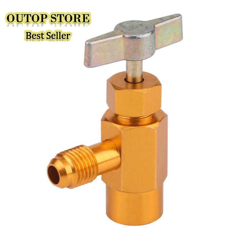 OUTOP AC R134a Refrigerant Can Bottle Tap Tapper Opener Connector 1/4in SAE 1/2in Valve