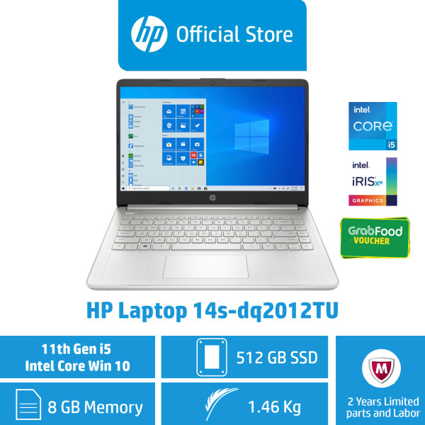 HP Laptop 14s-dq2012TU / Intel® Core™ i5-1135G7 / 8GB RAM / 512GB SSD / Win 10 / 11th Gen / Intel® Iris® Xᵉ Graphics / Thin, Light & Portable / Long Battery Life