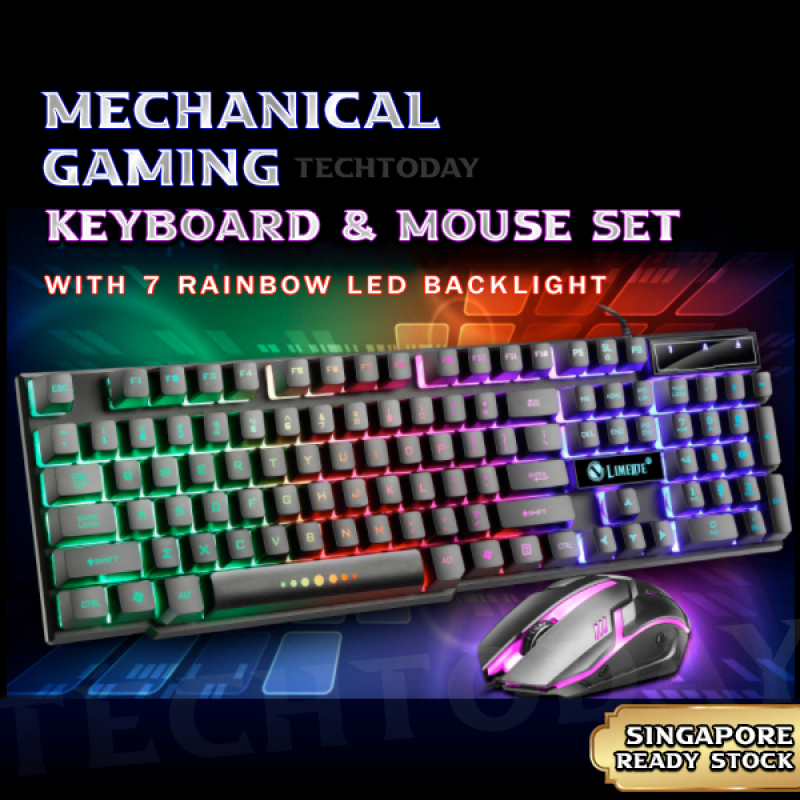 [SG In-Stock] Mechanical Gaming Keyboard with 7 LED Back Light | Comes with Gaming Mouse Set | Ultra Thin Clicking Feel