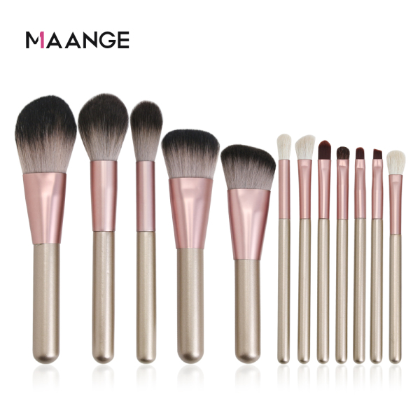 Buy MAANGE 12 Pcs Make up Brush Foundation Powder Eyelash Eyebrow Blending Make Up Brush Tool Cosmetic Beauty Brush Set Singapore