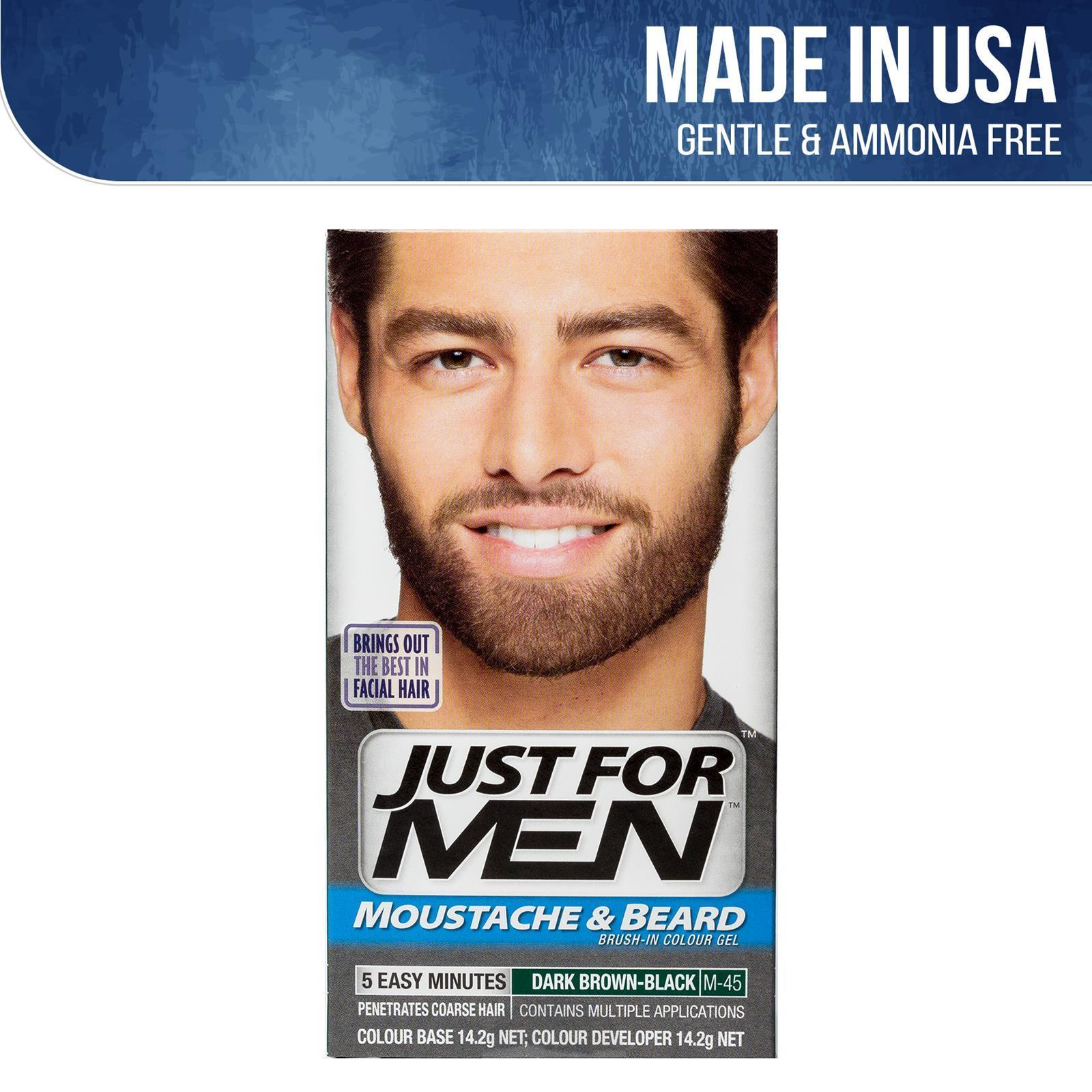 Just For Men Brush-In Color Gel For Moustache/Beard And Sideburns - Dark Brown Black