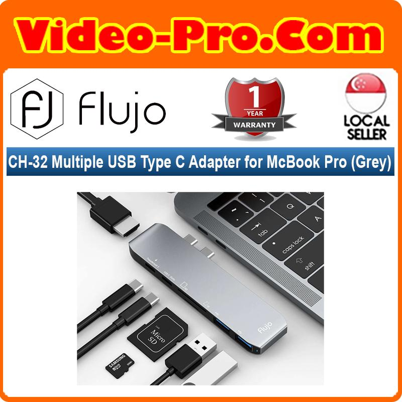 Flujo CH-32 Multiple USB Type C Adapter for McBook Pro (Grey)
