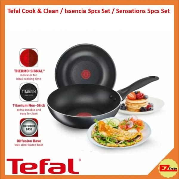 Tefal Cookware Cook & Clean / Issencia 3pc Set / Sensations 5pcs Set Frypan Frying Pan Wokpan 20cm / 24cm / 26cm / 30cm Singapore