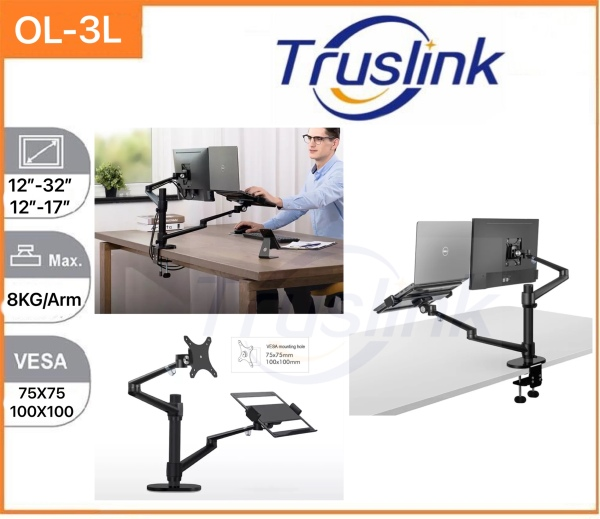【SG Seller】Truslink OL-3L Aluminum Height Adjustable Desktop Dual Arm 17-32 inch Monitor Holder+12-17 inch Laptop Holder Stand Full Motion Mount Arm / Monitor Mount + Pad Holder