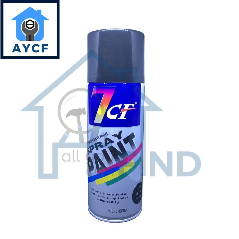(BUNDLE OF 12) 7CF Interior / Exterior Spray Paint 400ml - Black