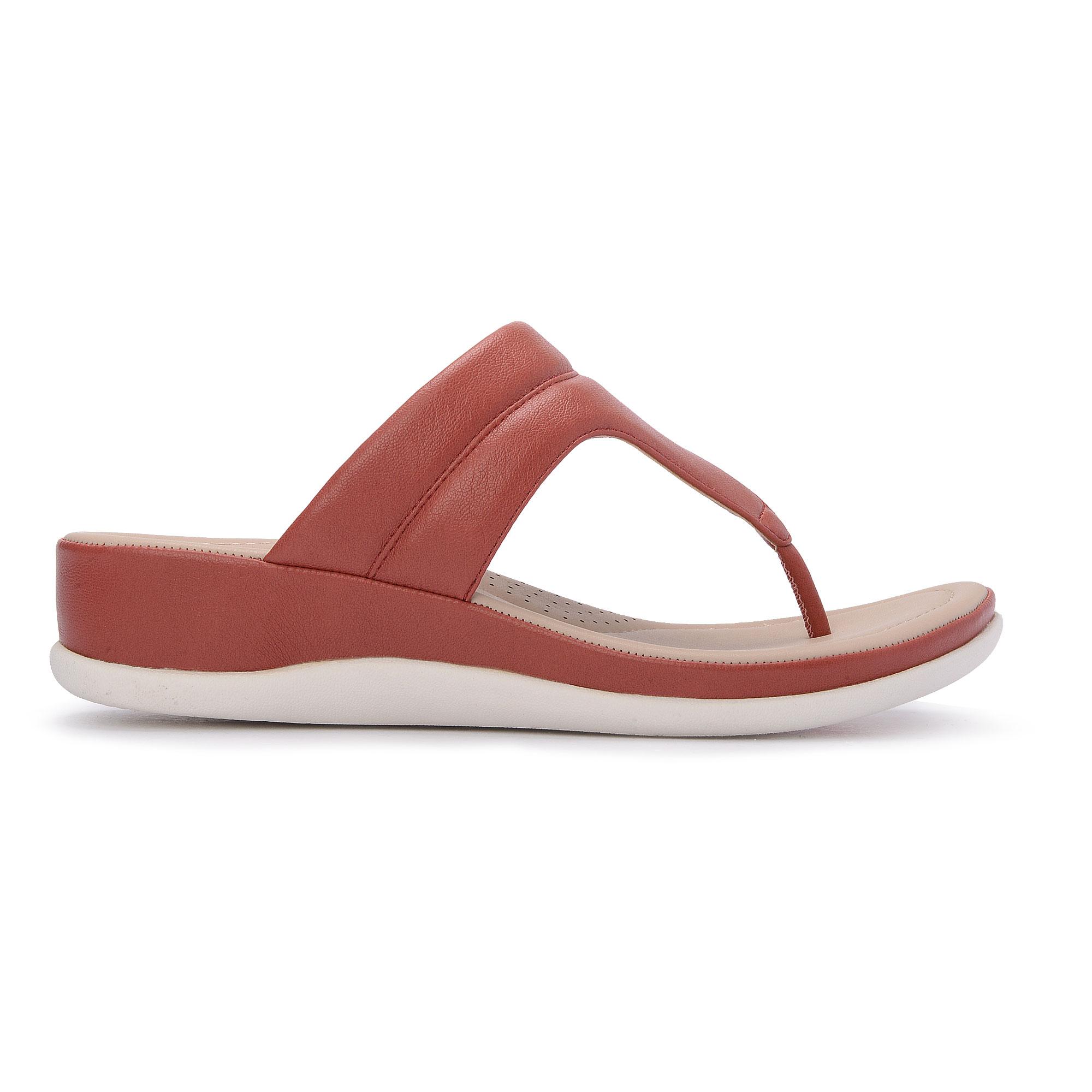 Bata Comfit Ladies Red Tubular Thongs 6715596.
