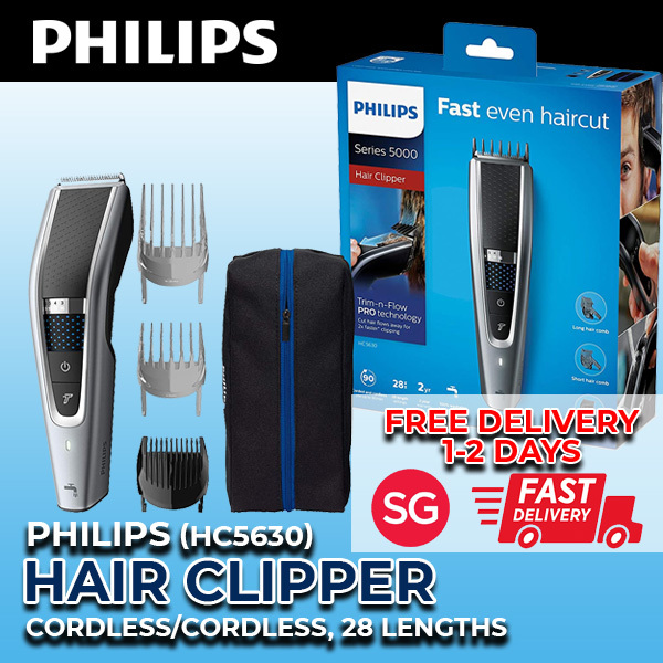 Buy [FREE EXPRESS DELIVERY] Philips Series 5000 Hair Clipper Long/Short Hair/Beard Comb 28 Length Setting HC5630/15 Singapore