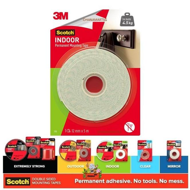 3M Scotch® Indoor Permanent Mounting Tape 110 (12mm x 5m)