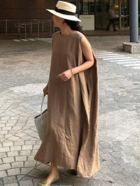 Váy Liền Rộng Rãi Cotton Lanh Mẫu Mới Hè 2020 Dongdaemun Hàn Quốc Váy Dài Áo Ba Lỗ Không Tay Khí Chất Văn Nghệ Dáng Dài Vừa
