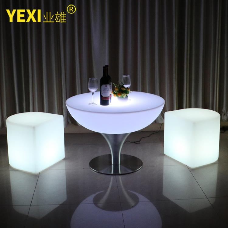 LED Shining Bar Table Creative Light-emitting Furniture Outdoor High Base Round Table Remote Control Sevev Colours Bar Counter Tables And Chairs
