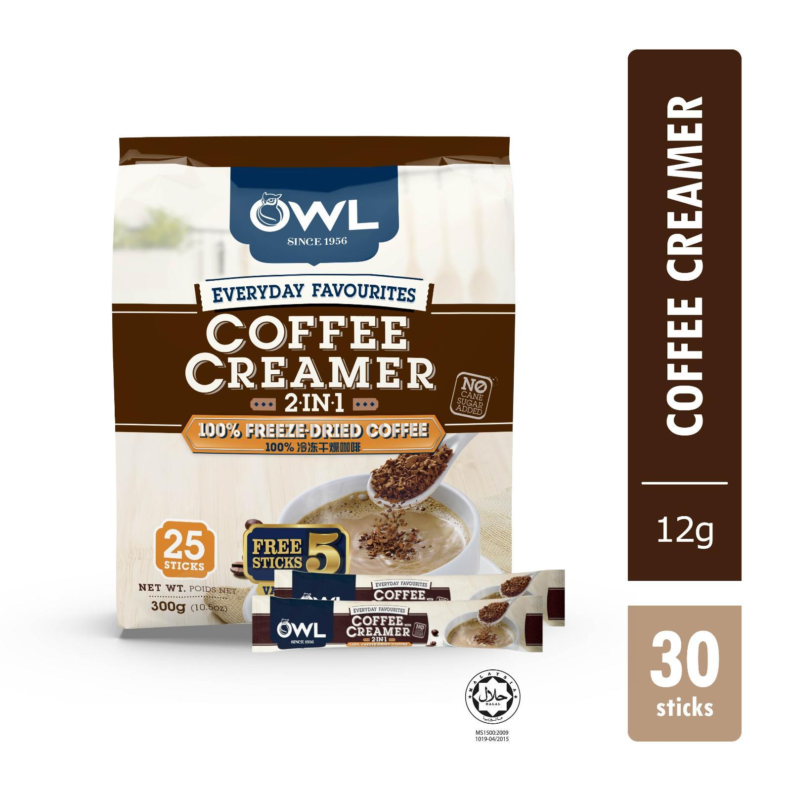 Owl Everyday Favourites Freeze-Dried 2in1 Coffee W/Creamer + Free 5s