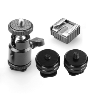 2X Pro 1 4Inch Mount Adapter for Tripod Screw to Flash Hot Shoe & 1x Lcd Monitor Adapter with Hot Shoe Cold Shoe Base thumbnail