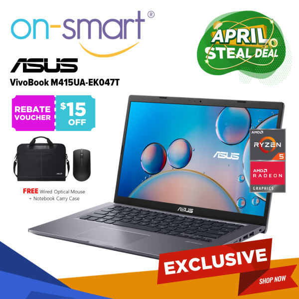 【Next Day Delivery】Exclusive Promotion - ASUS Laptop Vivobook 14 M415UA-EK047T with NumberPad |Casual Home - Student Laptop | AMD Ryzen 5 5500U Processor | 4GB RAM 512GB SSD | AMD Radeon Graphic | Windows 10 Home | 1 Yr Int Warranty | Cheap New Computer