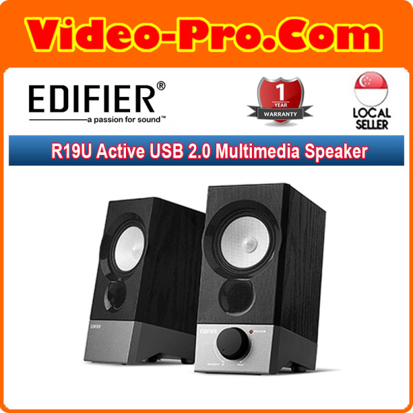 Edifier R19U Active USB 2.0 Multimedia Speaker SYSTEM-RMS 2WX2 Wooden Enclosed Design 3.5mm Input