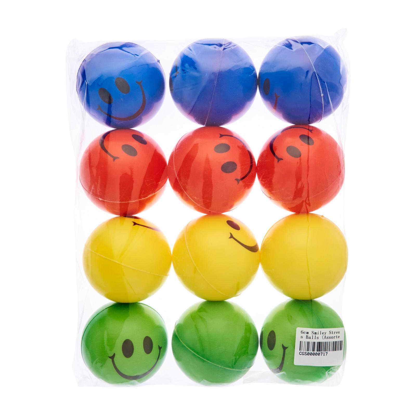 CGS 6Cm Smiley Stress Balls (Assorted) (12Pcs) - Party Favor