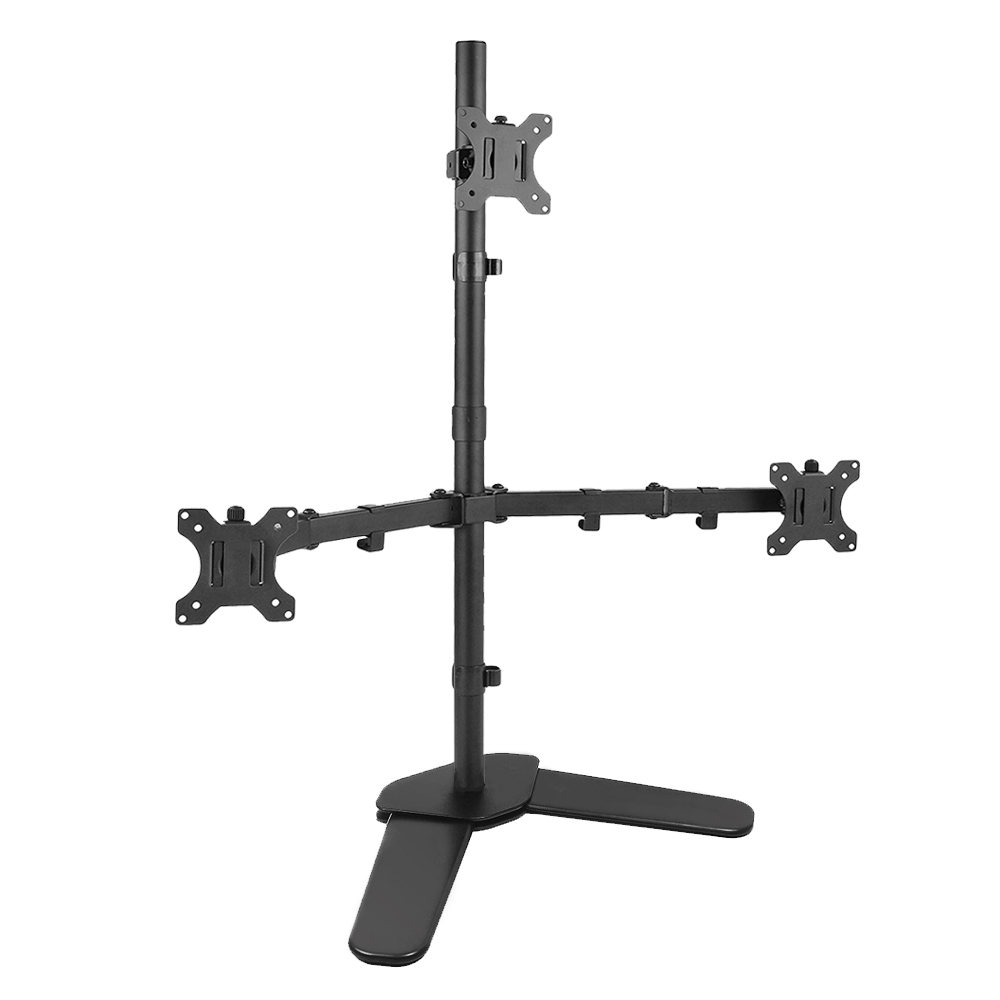 Triple LCD LED Computer Monitor Desk Stand Free Standing Heavy Duty Fully Adjustable Mounts Three Screens up to 27
