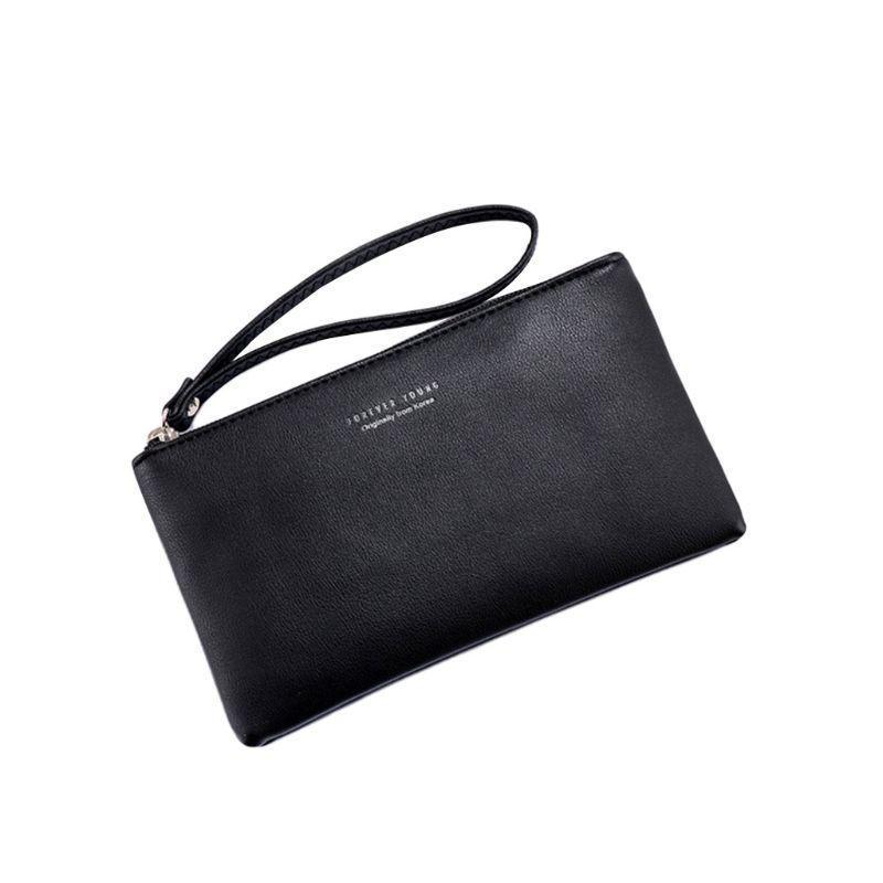 Women Pu Leather Purse Wristlet Zipper Wallet Handbag Envelope Phone Key Case Clutches For Women Coin Purses Fashion Bag