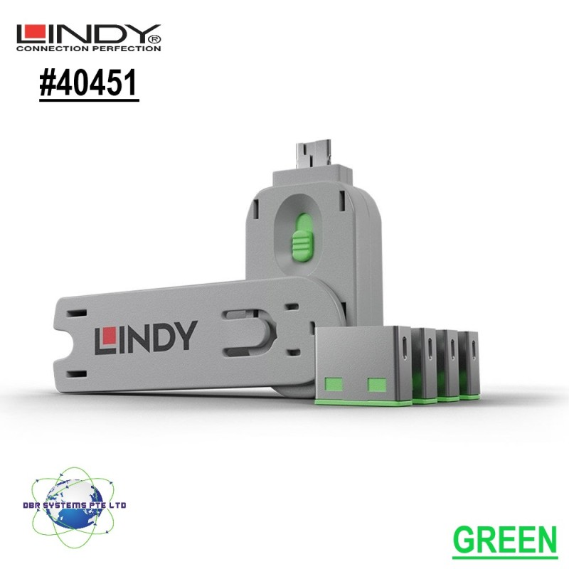 Lindy (GERMAN TECHNOLOGIES) USB type A Port Blocker - Pack of 1 key + 4 blocker, Colour Code: Green No. 40451