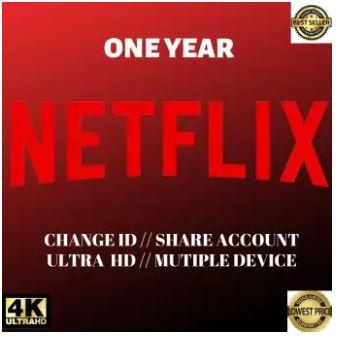Netflix 365 Days Premium UltraHD Account 4 Screens Worldwide Phone Tablet