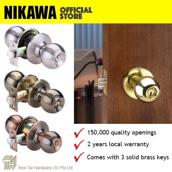 NIKAWA Cylindrical Lock 3871 Round Knob Room Door Lock, HDB lock, BTO lock, Office lock