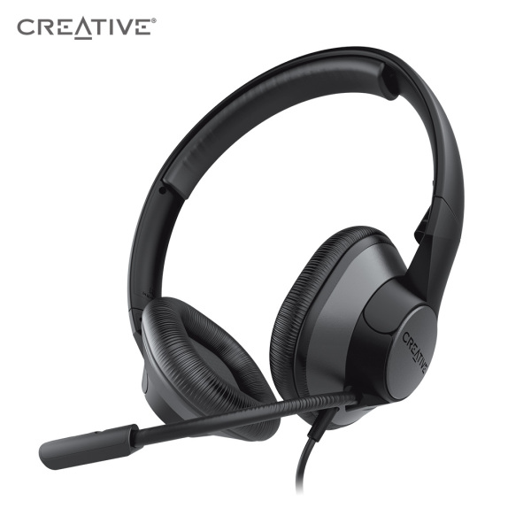 Creative HS-720 V2 USB Digital Audio On-Ear Headset with Noise-Cancelling Condenser Boom Mic, Inline Mic Mute/Calls/Volume Control and Mic-Monitoring Feature, Simple Plug-and-Play for Video Calls Singapore