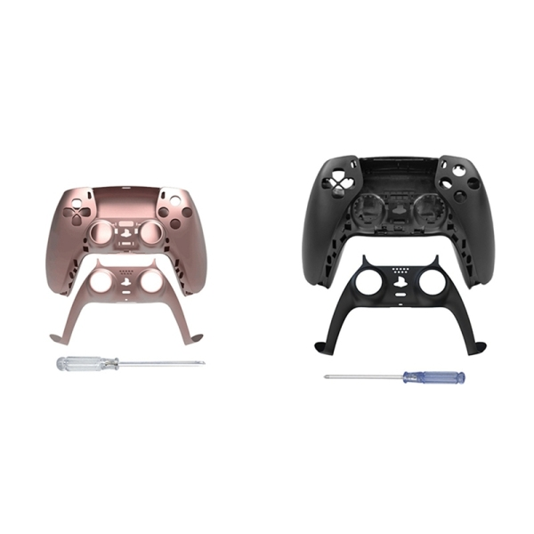 JYS 2Set Game Controller Gamepad Case Front Cover Rear Cover for Sony PS5 Handle Set Strip Skin Rose Red & Black