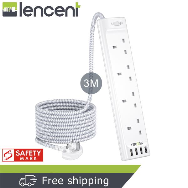 LENCENT 8 in 1 Surge Protector 4 Way Outlets Power Strip with 4 USB Ports (5V/3.4A) Multi Plug Charging Station with 3M Braided Extension cord for Home Office 3250W Extension Lead