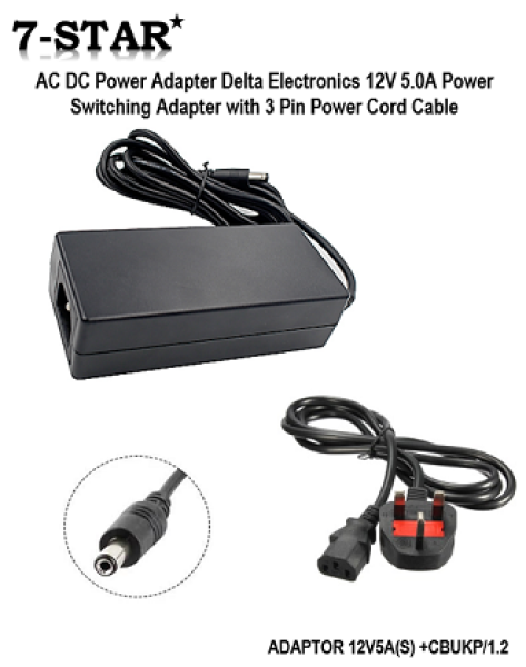 12V/5A AC DC Power Adapter Delta Electronics 12V 5.0A Power Switching Adaptor with 3Pin Power Cord (For:CCTV Camera, IP Camera, LED Strip Lights)