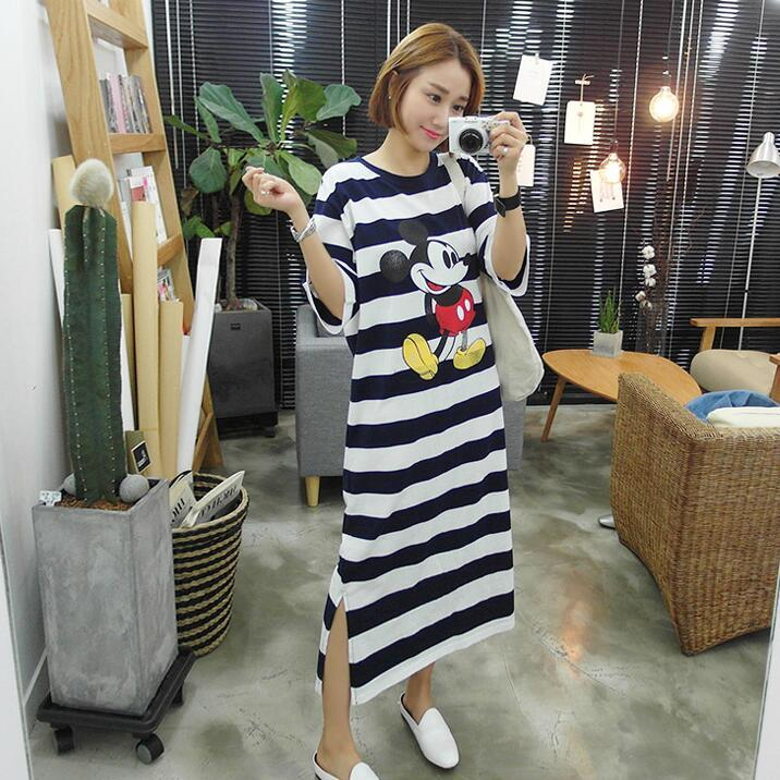 Korean-style Short Sleeve Plus Size Overknee Maternity Dress
