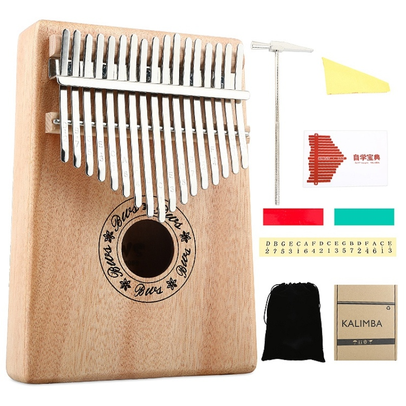 17 Keys Kalimba Thumb Piano High-Quality Wood Body Musical Instrument with Learning Book Tune Hammer