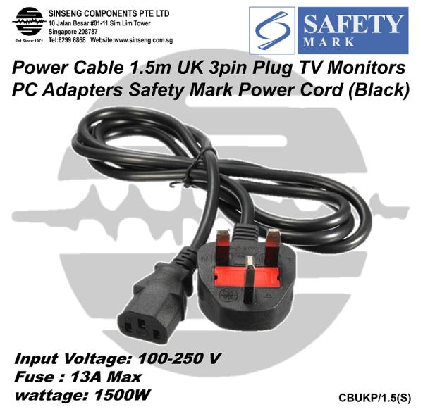 Singapore Power Plug to C13 Lead Power Cable (1.5 Meter) UK Singapore Malaysia Power Cord