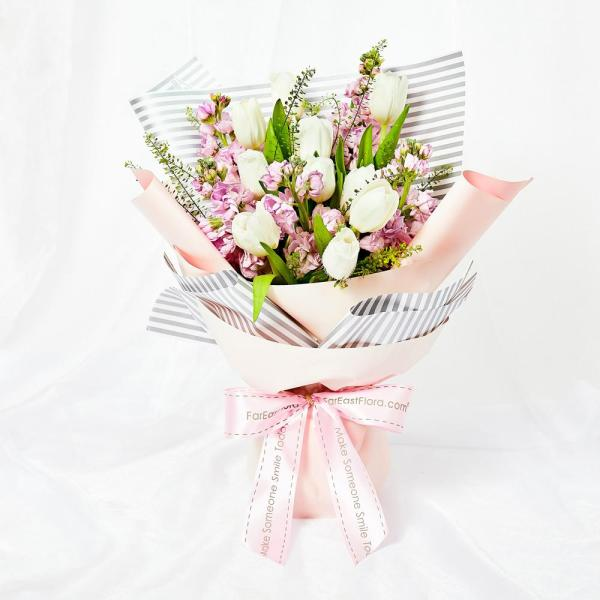 Mothers Day Flowers - Tulips Galore 10 White Tulips Hand Bouquet MDB13 FarEastFloracom