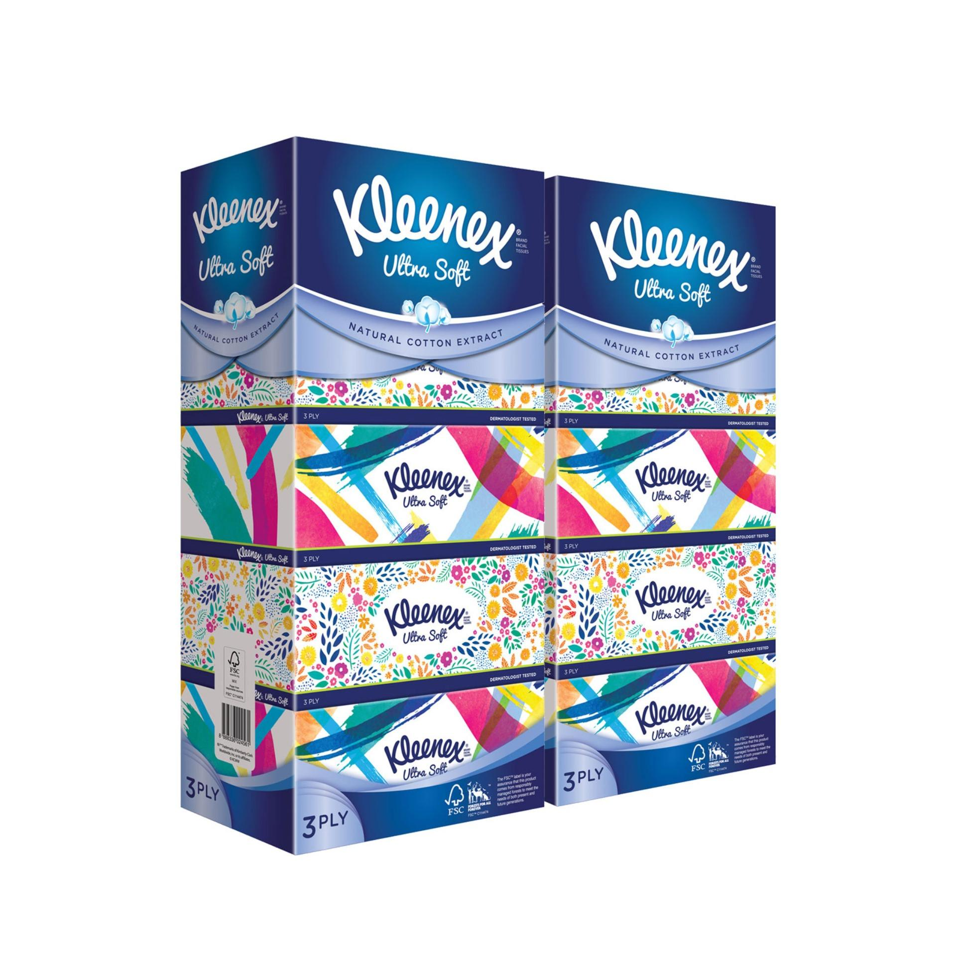 Kleenex Facial Tissue Refresh Floral 5x100pcs X 2 By Kimberly Clark Official Store.