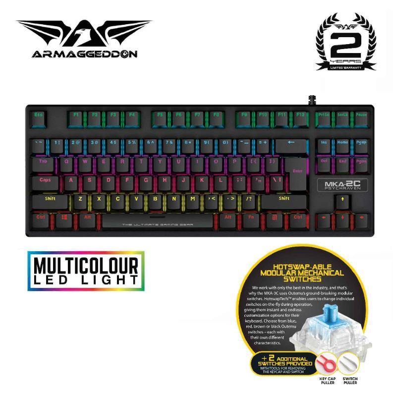 Armaggedddon MKA-2C Psychraven Blue Switch Mechanical Gaming Keyboard Singapore