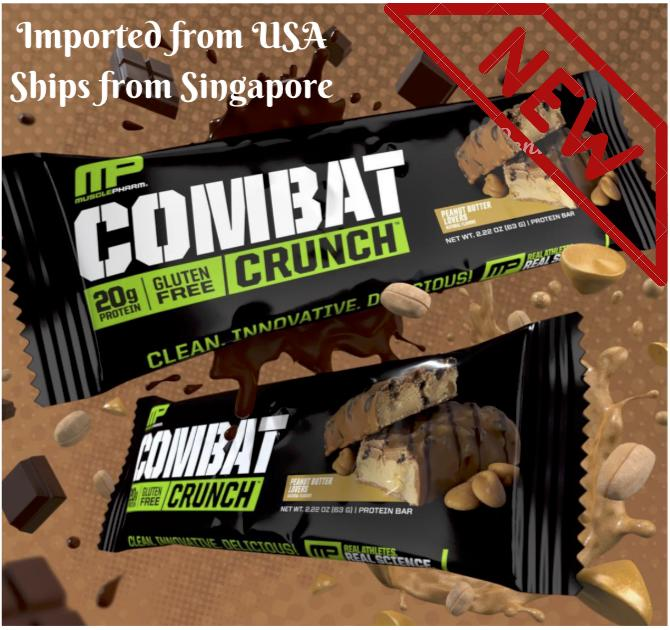[new] Musclepharm Combat Crunch All Flavours -1 Tasting Gym Protein Bar By Gymgourmet.