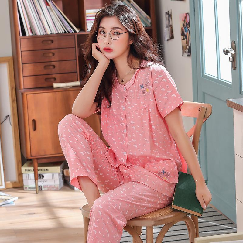 Pure Cotton Pajamas women Summer Short Sleeve Set Thin Cotton Short Sleeve  Trousers Two-Piece 99d545238