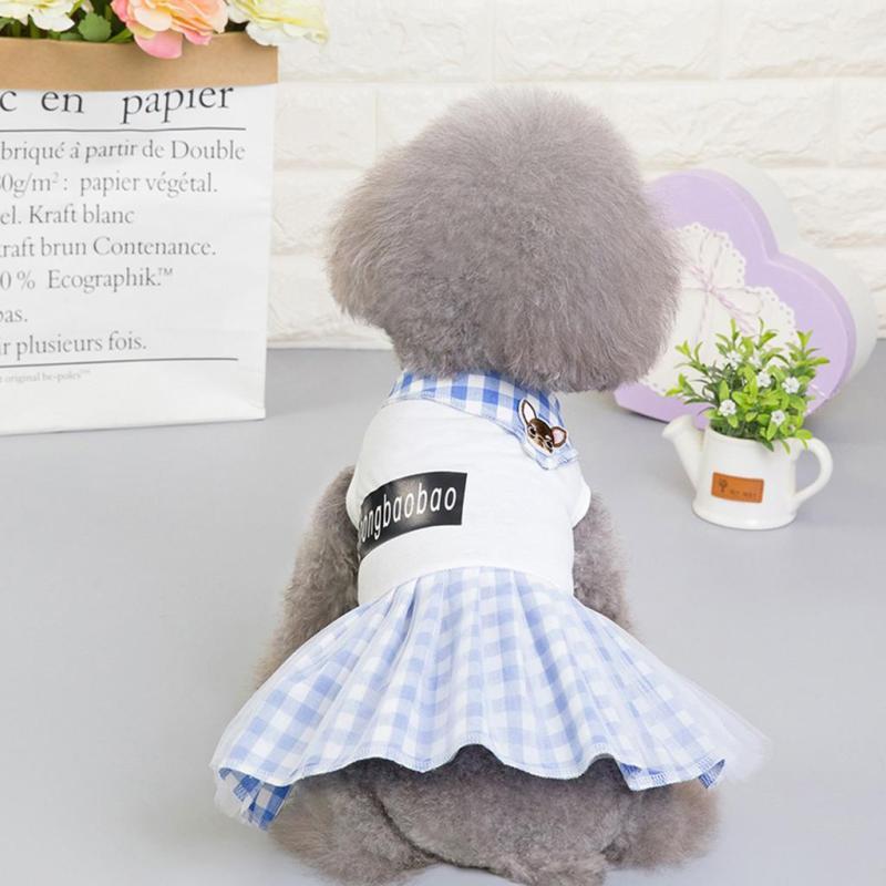 【Pet Shop】Free Vận Chuyển Thời Trang Trang Phục Cho Thú Cưng Thoáng Khí Xuân Hè Đơn Giản Mới Chân Váy Kẻ Caro