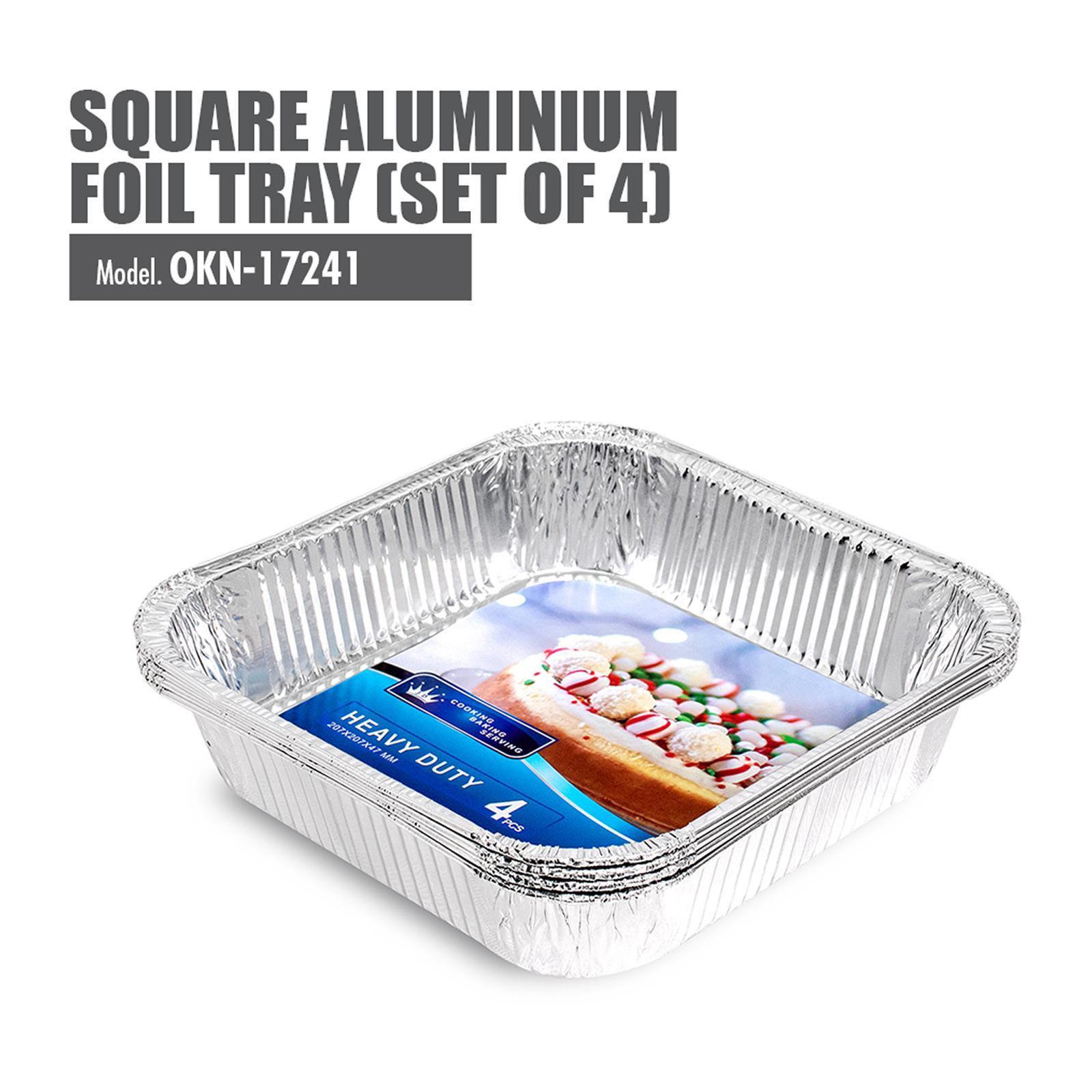 HOUZE Square Aluminium Foil Tray (Set Of 4) - 207X207X47MM